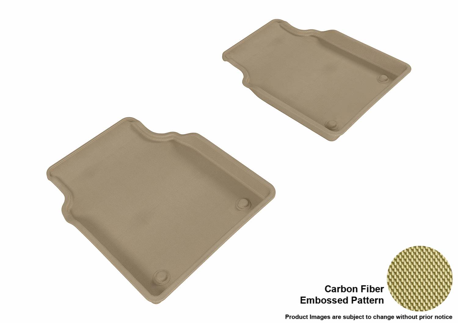 Tan 3D MAXpider Front Row Custom Fit All-Weather Floor Mat for Select Audi A8//A8L Models Kagu Rubber
